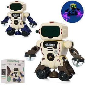 Робот 18см, звук, свет, ездит/танцует, 2цвета, на бат-ке,в кор-ке,