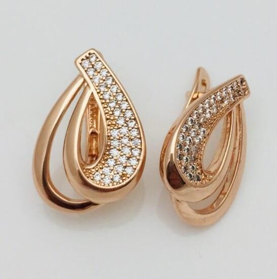 Жіночі сережки з камінням Fallon Jewelry, мед золото, 82202663-01 H-22 мм B-15 мм