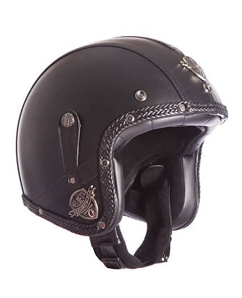 Ретро шлем полулицевик Кастом шлем бабл Каска 3/4 кожаная, фото 2