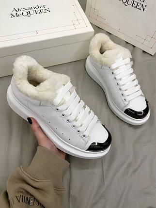 Женские кроссовки Alexander McQueen White Metal Fur, фото 2