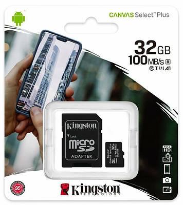 Карта памяти Kingston 32 GB Select Plus 10 Class R-100 (адаптер SD)