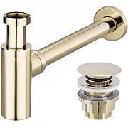 Сифон для умывальника Rea универсальный, золотой, с донным клапаном click-clack (REA-A5692)