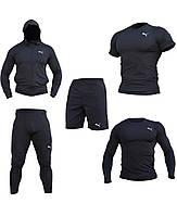"""Компрессионная одежда комплект 5 в 1 PUMA (ПУМА ) для тренировок Черный Пакистан """"В СТИЛЕ"""""""