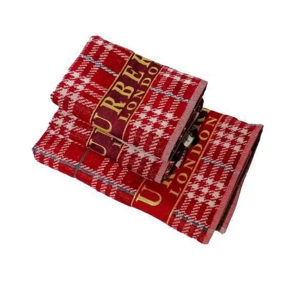 Набор банных полотенец Burberry (1 шт 140х70 см, 2 шт 50х90 см) 100% хлопокКрасный