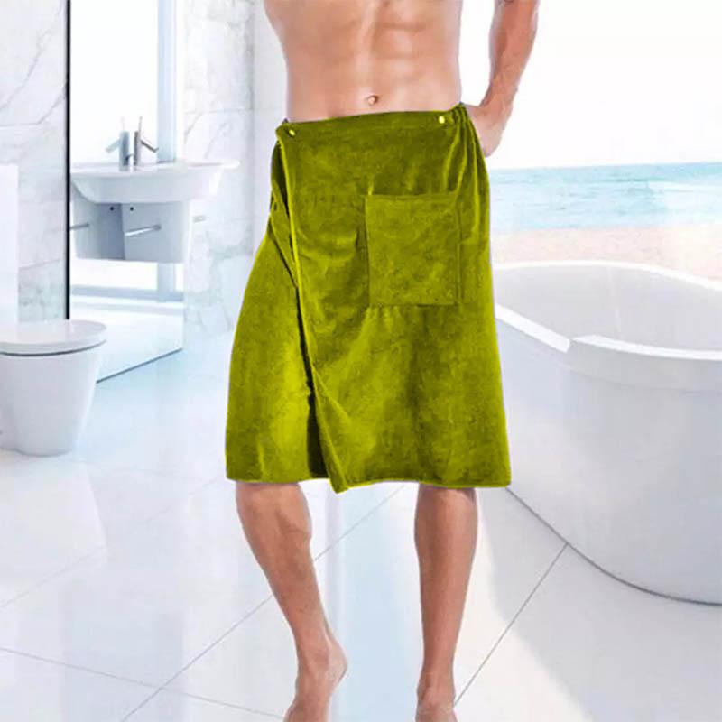 Килт (парео) мужской микрофибра на пуговицах, зеленый, Sauna Pro