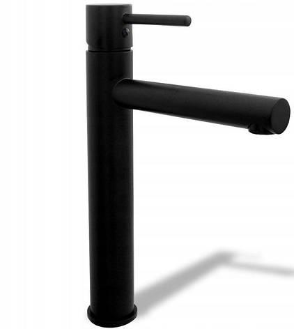 Змішувач для раковини (рукомийники) REA TESS BLACK чорний високий, фото 2