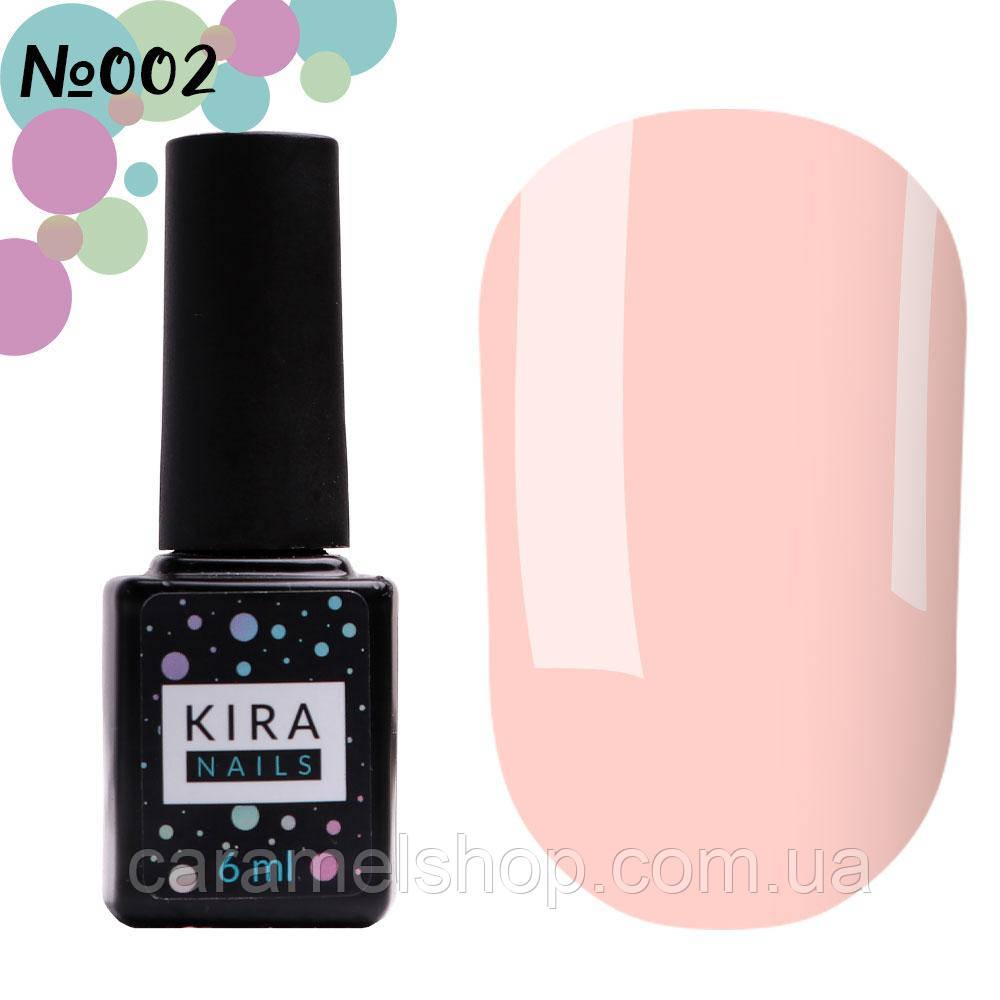 Гель-лак Kira Nails №002 (нежно-розовый, эмаль), 6 мл