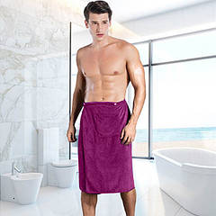Килт (парео) мужской микрофибра на пуговицах, фиолетовый, Sauna Pro