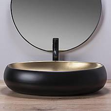 Умивальник (раковина) REA MELANIA BLACK / GOLD накладної чорний, фото 2