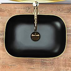Умивальник (раковина) REA BELINDA MATT BLACK GOLD EDGE накладної, фото 3