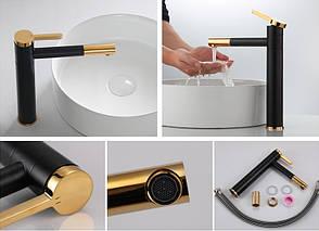 Смеситель для раковины (умывальника) Rea SMART BLACK+GOLD черный / золотой высокий, фото 2