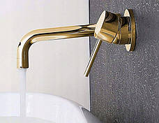 Смеситель для раковины (умывальника) REA LUNGO GOLD золотой скрытого монтаж, фото 2