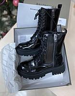 Женские ботинки Balenciaga Tracktor Black Glossy Pigskin (без меха)