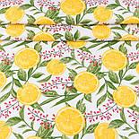 """Лоскут ткани с принтом """"Барбарис и дольки лимона"""" на белом (№3391), размер 36*120 см, фото 2"""