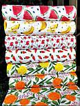 """Лоскут ткани с принтом """"Барбарис и дольки лимона"""" на белом (№3391), размер 36*120 см, фото 3"""