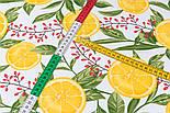 """Лоскут ткани с принтом """"Барбарис и дольки лимона"""" на белом (№3391), размер 36*120 см, фото 4"""