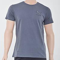 Мужская футболка с накаткой Puma (реплика) темный серый