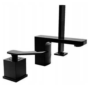 Змішувач для ванни REA SONIC BLACK чорний на борт ванни, фото 2