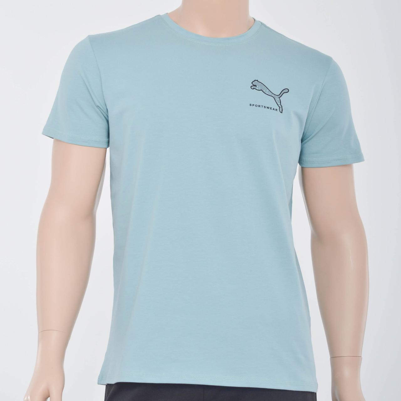 Чоловіча футболка з накаткою Puma (репліка) аква