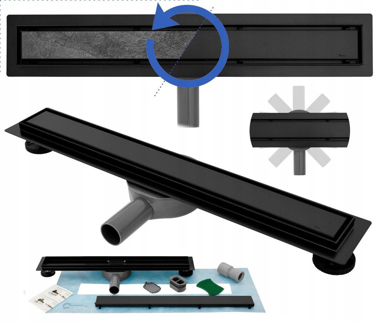 Трап для душа REA NEO PRO BLACK 2в1 черный 60 см