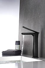 Смеситель для раковины (умывальника) REA SOHO BLACK HIGH черный высокий, фото 3