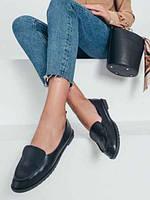 Балетки женские легкие  черного цвета из Эко-кожи