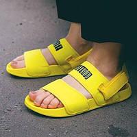 Жіночі літні тканинні босоніжки Puma яскраві жовті | Повсякденні зручні відкриті сандалі Пума