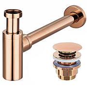 Сифон для умывальника Rea универсальный, розовое золото с донным клапаном click-clack (REA-A8541)
