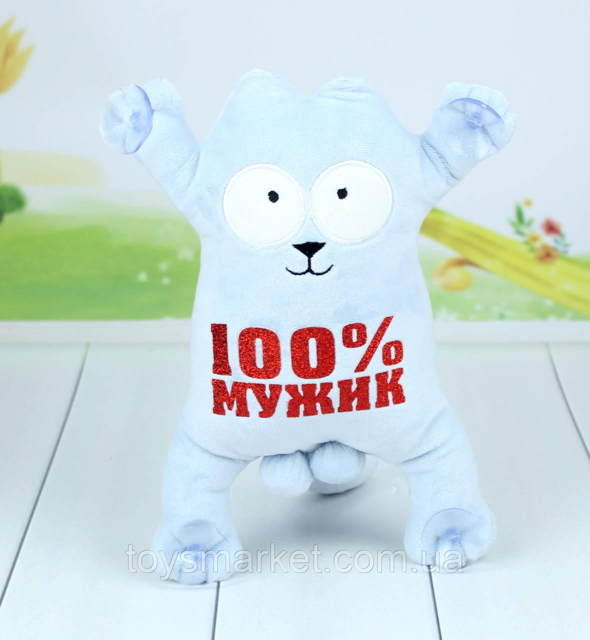 Мягкая игрушка кот Саймон, сувенирный кот на присосках с надписью, 34 см.
