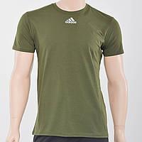 Мужская футболка с светоотражайками на груди и рукаве Adidas (реплика) Хаки