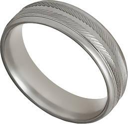 Кольцо Мужское Стальное AFFY Серебряное с Геометрическим Узором А62