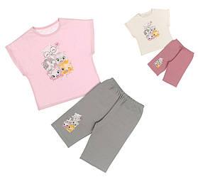Пижама детская для девочки (футболка длинный рукав_штаны),  Donella (размер 2/3)
