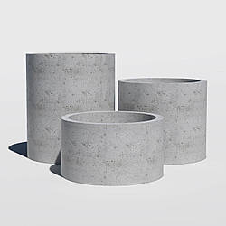 ЦИЛИНДР Вазон бетонный уличный, горшок для сада, дома и террасы
