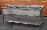 Мойка для кухни из нержавеющей стали, 3-секционная, 1800х600х850 мм., Б/у