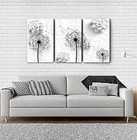 Модульна картина Poster-land Квіти Абстракція (53х100см) Аrt-74_3А