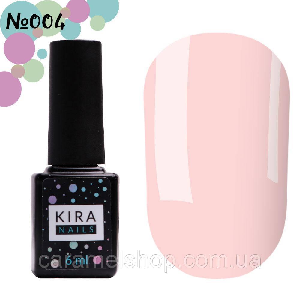 Гель-лак Kira Nails №004 (розовый камуфляж для френча, эмаль), 6 мл