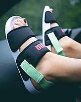 Жіночі літні тканинні босоніжки Puma чорні з зеленим   Повсякденні зручні відкриті сандалі Пума, фото 1