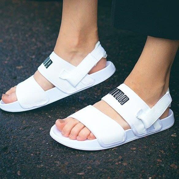 Жіночі літні тканинні босоніжки Puma білі   Повсякденні зручні відкриті сандалі Пума