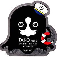 Патч от черных точек для носа Tony Moly tako pore one shot nose