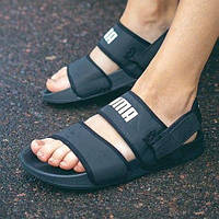 Жіночі літні тканинні босоніжки Puma чорні   Повсякденні зручні відкриті сандалі Пума, фото 1