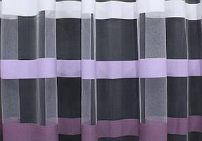 Отрез (1,5х2,7м) ткани, остаток с рулона. Фатин полосы. Цвет белый с сиреневым и баклажанным. Код 345ту 00-566