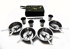 """Комплект Набір посуду для пікніка і природи """"Турист"""" з нержавійки на 4 персони в сумці, фото 3"""