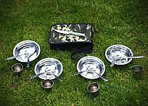 """Комплект Набір посуду для пікніка і природи """"Турист"""" з нержавійки на 4 персони в сумці, фото 2"""
