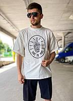 Мужская модная футболка оверсайз трикотажная, современная с принтом, белая