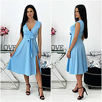 Однотонне літнє жіноче плаття міді без рукавів блакитне АА/-111437