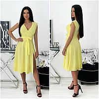 Однотонне літнє жіноче плаття міді без рукавів жовте АА/-111437