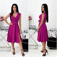 Однотонне літнє жіноче плаття міді без рукавів фуксія АА/-111437