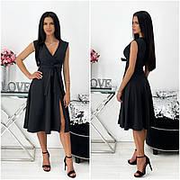 Однотонне літнє жіноче плаття міді без рукавів чорне АА/-111437