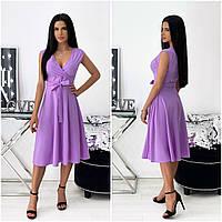 Однотонне літнє жіноче плаття міді без рукавів лавандова АА/-111437