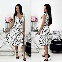 Літнє жіноче плаття в квіточку міді біле АА/-111440